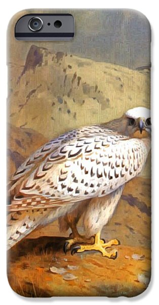 Soaring Paintings iPhone Cases - Greenland Falcon iPhone Case by Archibald Thorburn