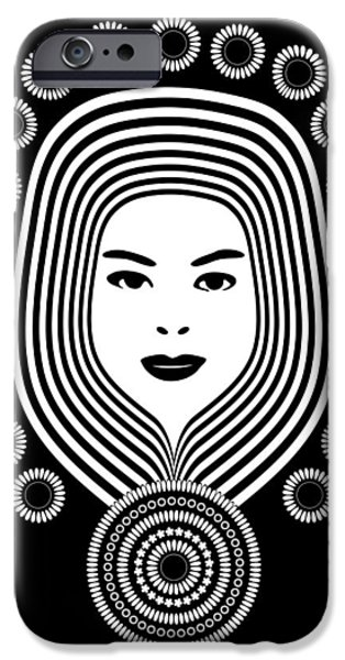 Ink Drawing Drawings iPhone Cases - Art Nouveau Woman iPhone Case by Frank Tschakert