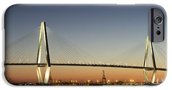 Arthur iPhone Cases - Arthur Ravenel Jr Bridge over the Cooper River Charleston SC iPhone Case by Dustin K Ryan
