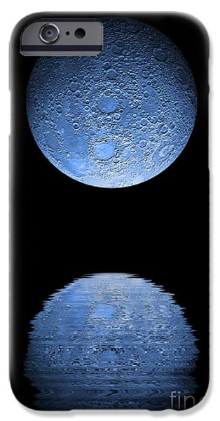 Sea Moon Full Moon iPhone Cases - Artists Depiction Of A Heavily Cratered iPhone Case by Marc Ward
