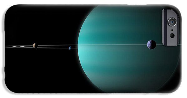 Moonscape iPhone Cases - Artists Depiction Of A Ringed Gas Giant iPhone Case by Marc Ward