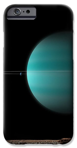 Artists Depiction Of A Ringed Gas Giant iPhone Case by Marc Ward