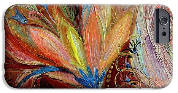 Flower Of Life iPhone Cases - Artwork Fragment 54 iPhone Case by Elena Kotliarker