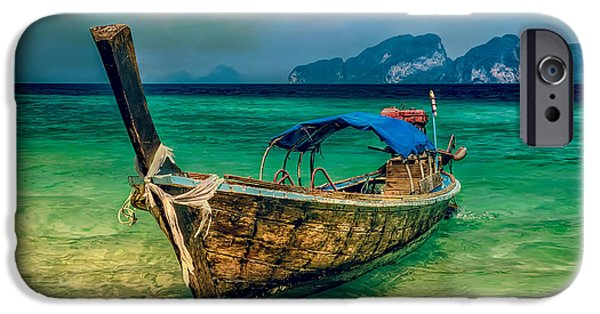 Coastline Digital Art iPhone Cases - Asian Longboat iPhone Case by Adrian Evans