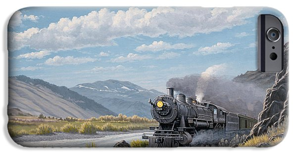 Steam Locomotive iPhone Cases - At Point of Rocks-Bound for Livingston iPhone Case by Paul Krapf
