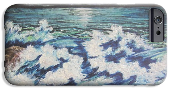 Sea Moon Full Moon Paintings iPhone Cases - At the Edge iPhone Case by Cheryl Pettigrew