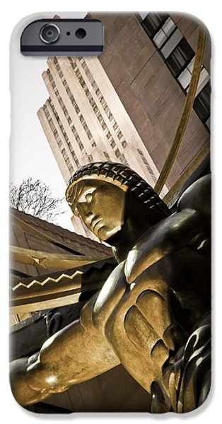 Empire State iPhone Cases - Atlas Rockefeller Plaza iPhone Case by Newyorkcitypics Bring your memories home