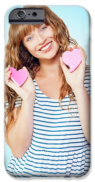 First Love iPhone Cases - Attractive young teenage girl in love iPhone Case by Ryan Jorgensen