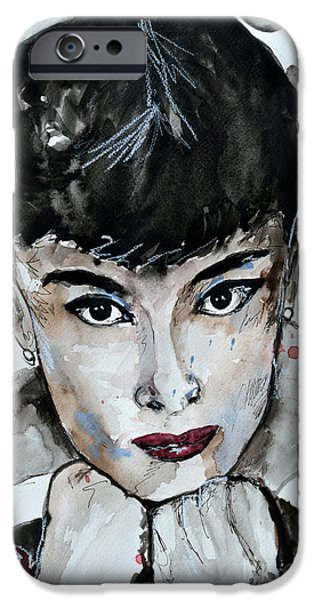 Ismeta iPhone Cases - Audrey Hepburn - Abstract Art iPhone Case by Ismeta Gruenwald