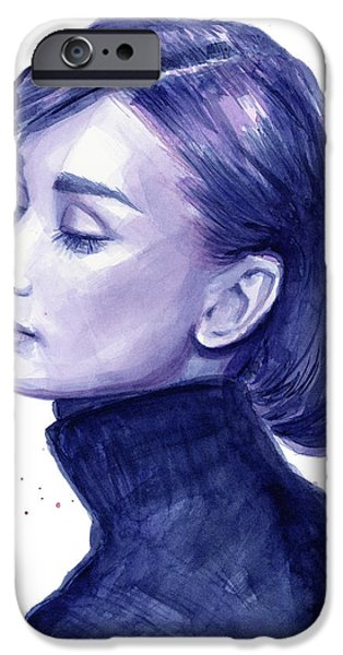 Celebrities Art Paintings iPhone Cases - Audrey Hepburn Portrait iPhone Case by Olga Shvartsur