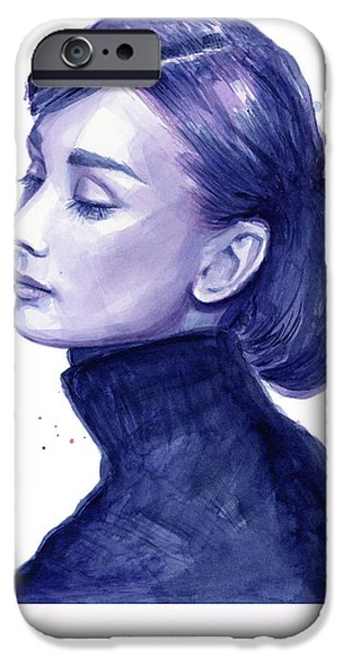 Celebrities Art iPhone Cases - Audrey Hepburn Portrait iPhone Case by Olga Shvartsur