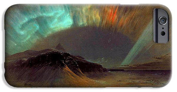 Smithsonian Paintings iPhone Cases - Aurora Borealis iPhone Case by Frederic Edwin Church