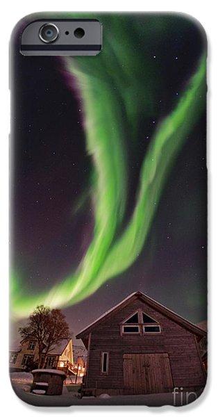 Snowy Night iPhone Cases - Aurora Borealis, Norway iPhone Case by Babak Tafreshi, Twan