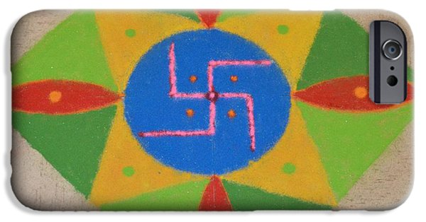 Culture Pastels iPhone Cases - Auspicious Swastik Rangoli  iPhone Case by Sonali Gangane