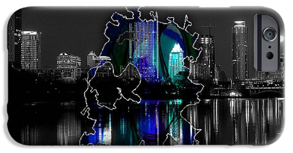 Austin iPhone Cases - Austin Texas Map and Skyline Watercolor iPhone Case by Marvin Blaine