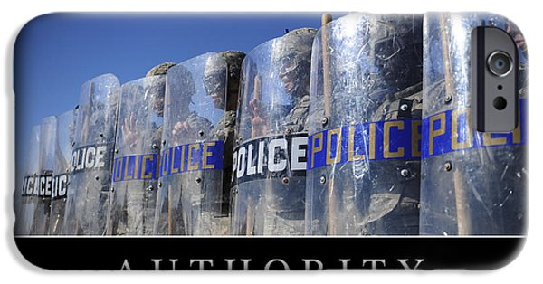 Police Officer iPhone Cases - Authority Inspirational Quote iPhone Case by Stocktrek Images