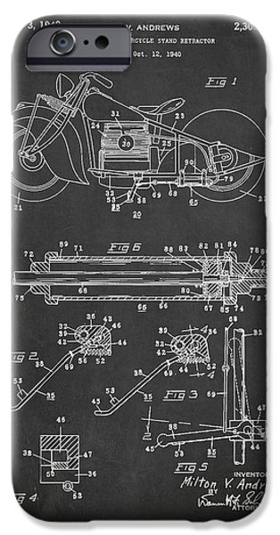 Technical iPhone Cases - Automatic Motorcycle Stand Retractor Patent Drawing From 1940 iPhone Case by Aged Pixel