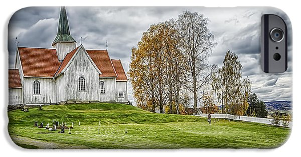 Norway iPhone Cases - Autumn Church iPhone Case by Erik Brede