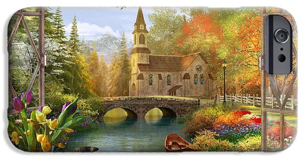 Bible iPhone Cases - Autumn Church Frame iPhone Case by Dominic Davison