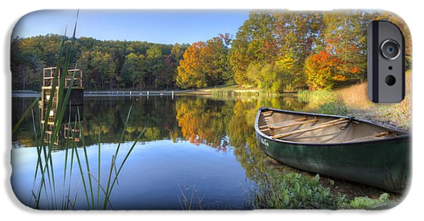 Recently Sold -  - Canoe iPhone Cases - Autumn Lake iPhone Case by Debra and Dave Vanderlaan