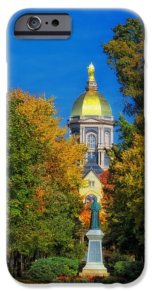Fallen Leaves iPhone Cases - Autumn on the Campus of Notre Dame iPhone Case by Mountain Dreams