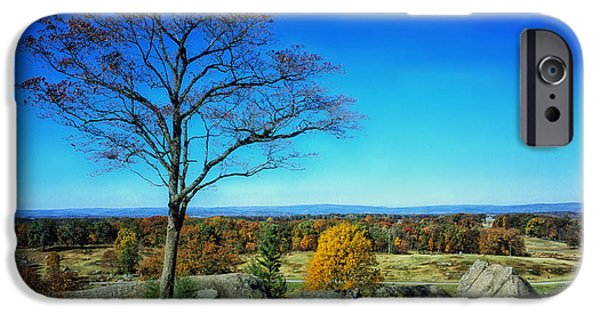 Battlefield Site iPhone Cases - Autumn View on Little Round Top - Gettysburg iPhone Case by Pixabay