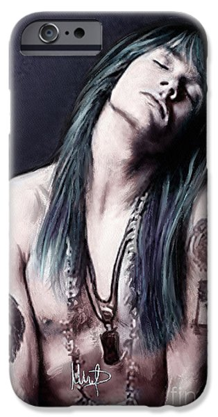 Rose Pastels iPhone Cases - Axl Rose iPhone Case by Melanie D
