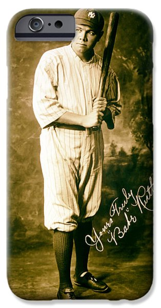 Autographed iPhone Cases - Babe Ruth 1920 iPhone Case by Mountain Dreams