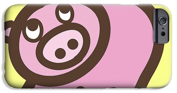 Nursery Art iPhone Cases - Baby Pig Art for the nursery iPhone Case by Nursery Art