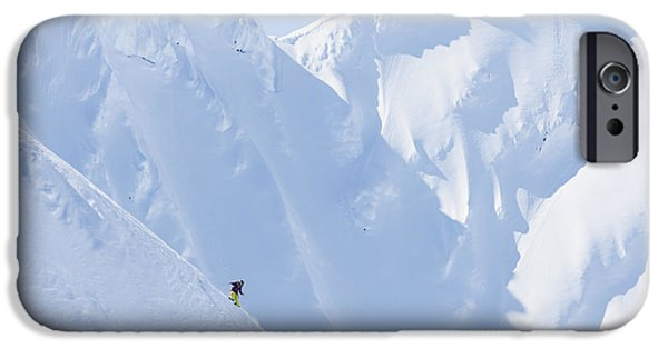 Winter iPhone Cases - Backcountry Skiing In The Chugach iPhone Case by Scott Dickerson