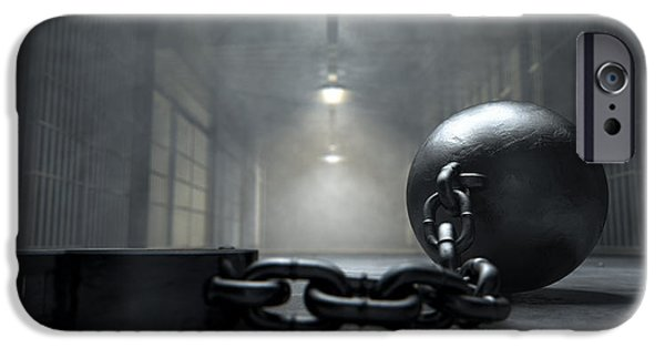 Escape Digital iPhone Cases - Ball And Chain In Prison iPhone Case by Allan Swart