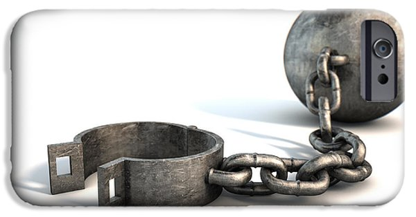 Escape Digital iPhone Cases - Ball And Chain Isolated iPhone Case by Allan Swart