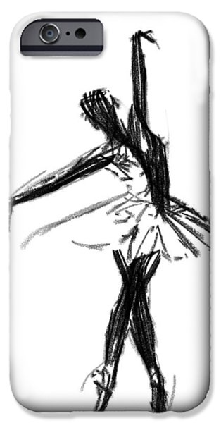Ballerina Drawings iPhone Cases - Ballerina  iPhone Case by Stefan Kuhn