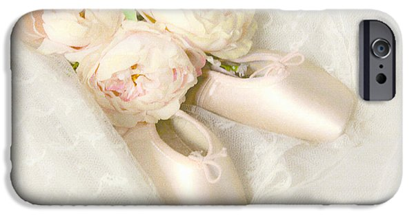 Dance Ballet Roses iPhone Cases - Ballet Shoes iPhone Case by Theresa Tahara