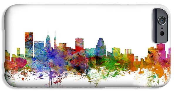 Baltimore iPhone Cases - Baltimore Maryland Skyline iPhone Case by Michael Tompsett