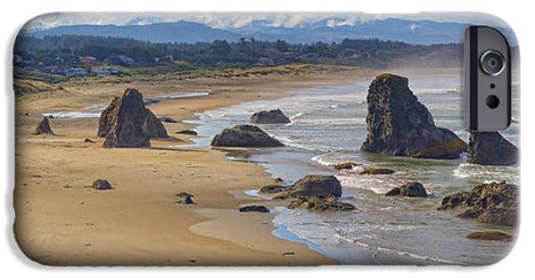 Beach Landscape Tapestries - Textiles iPhone Cases - Bandon Beach Landscape iPhone Case by Dennis Bucklin