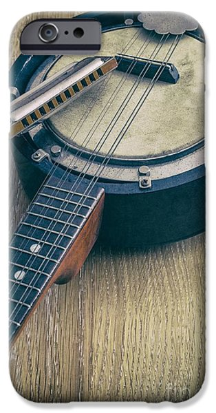 Audio iPhone Cases - Banjo and Harp iPhone Case by Carlos Caetano