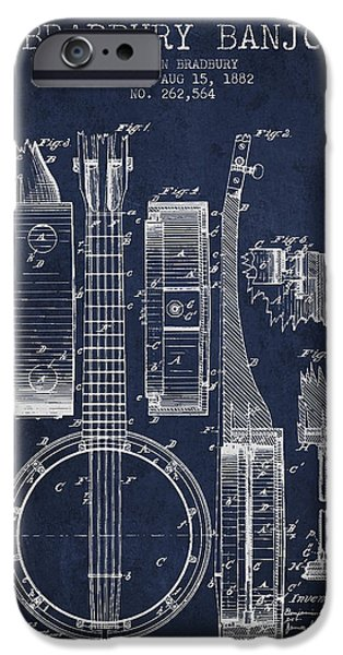 Strings Digital iPhone Cases - Banjo patent Drawing from 1882 - Blue iPhone Case by Aged Pixel