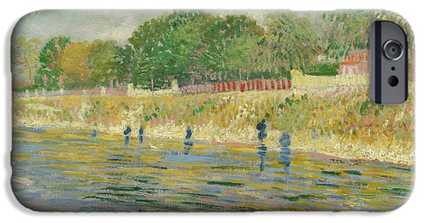 Banks iPhone Cases - Bank of the Seine iPhone Case by Vincent van Gogh