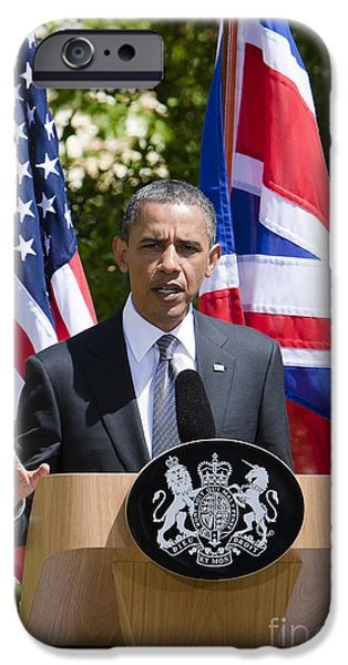 Press Conference iPhone Cases - Barack Obama iPhone Case by Andy Myatt