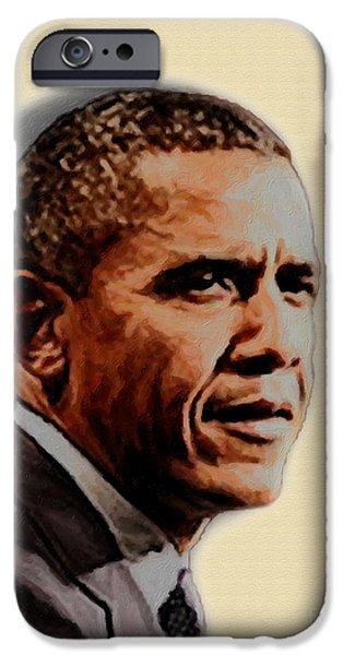 Barack Obama iPhone Cases - Barack Obama iPhone Case by Charles Thayer