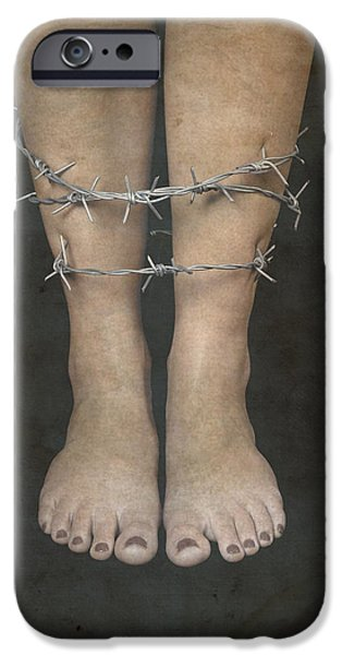 Eerie iPhone Cases - Barbed Wire iPhone Case by Joana Kruse