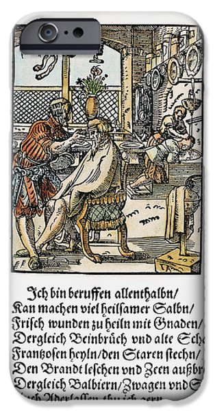 Hair-washing iPhone Cases - Barber-surgeon, 1568 iPhone Case by Granger