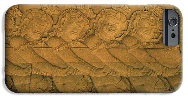 Buddhism iPhone Cases - Bas Relief In A Temple, Angkor Wat iPhone Case by Panoramic Images