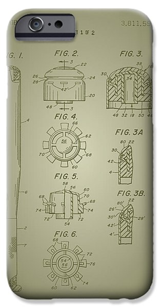 Baseball Drawings iPhone Cases - Baseball Bat Construction Patent 1974 iPhone Case by Mountain Dreams