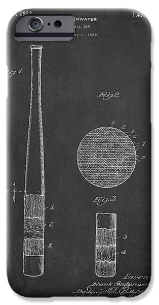 Baseball Glove iPhone Cases - Baseball Bat Patent Drawing From 1920 iPhone Case by Aged Pixel