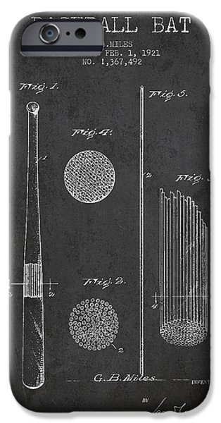 Baseball Glove iPhone Cases - Baseball Bat Patent Drawing From 1921 iPhone Case by Aged Pixel