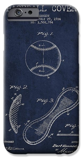 Baseball Art iPhone Cases - Baseball Cover Patent Drawing From 1924 iPhone Case by Aged Pixel