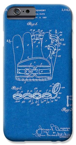 Baseball Glove iPhone Cases - Baseball Glove Patent - Blueprint iPhone Case by BJ Simpson