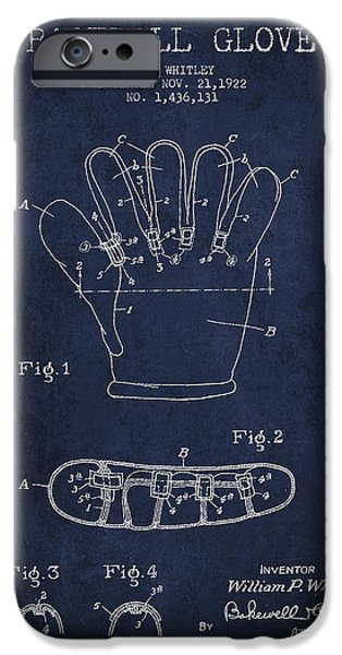 Baseball Glove iPhone Cases - Baseball Glove Patent Drawing From 1922 iPhone Case by Aged Pixel